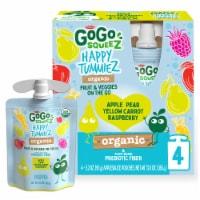 GoGo Squeez Happy TummieZ Apple Pear Yellow Carrot Raspberry Organic Fruit & Veggie Pouch - 4 ct / 3.2 oz