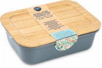 Core Kitchen Concave Colored Glass Food Storage Container with Bamboo Lid - Gray