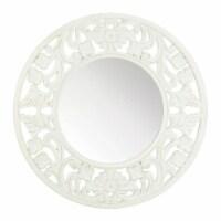 Koehler Home Decor Carved Round White Frame Wall Mirror - 1 unit