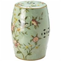 Zingz & Thingz Ceramic Floral Garden Decorative Stool in Green