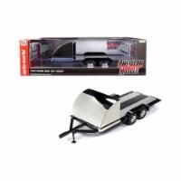 Autoworld AMM1166 Four Wheel Open Cars Hauler Black Trailer for 1 by 18 Scale Models - 1