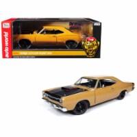 Autoworld AMM1173 1969.5 Dodge Coronet Six Pack Super Bee Hardtop Butterscotch Orange with Bl - 1