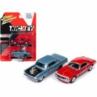 Johnny Lightning JLPK009-NICKEY 1965 Chevrolet Nova SS Blue Metallic & 1967 Chevrolet Camaso