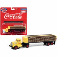 White WC22 Truck Tractor with Bottle Trailer Yellow \Coca-Cola\ 1/87 (HO) Scale Model - 1