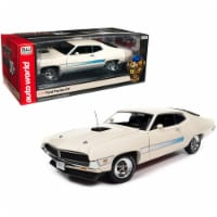 1971 Ford Torino GT Wimbledon White with Blue Laser Stripes 1/18 Car - 1