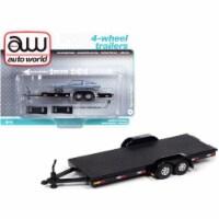 4-Wheel Open Car Trailer Black 1/64 Diecast Model by Autoworld - 1