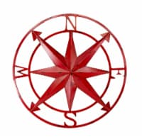 20 Inch Distressed Metal Compass Rose Nautical Wall Decor Indoor or Outdoor Wall Decor, Red - One Size