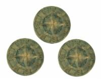 3 Green Lightweight Cement Nautical Compass Wall Art Plaque - Indoor Outdoor - Green - One Size