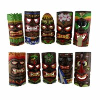 Hand Carved Wood Art Polynesian Party Hawaiian Tiki Masks 10 Piece Set 10 Inch - One Size