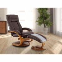 Relax-R HAMILTON054099PL Hamilton Recliner & Ottoman with Pillow in Whisky Air Leather