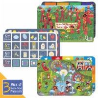 Little Likes Kids Educational Two-Sided Easy Wipe Clean Kids Placemat Variety Pack - 3 Count
