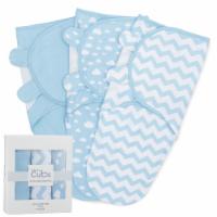 Swaddle Blanket Baby Girl Boy Easy Adjustable 3 Pack Infant Sleep Sack (Large, Blue)