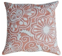 Chicos Home Nature Inspired Coral Peacock Embroidered Throw Pillow Cover - Coral/White