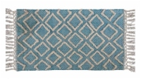 Chicos Home Modern Area Accent Rug with Fringes - Blue/White - 2 x 3.75 ft