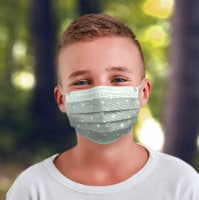 25 Pack EZ Breezy Kids Disposable Face Masks - Perfect Size for Children (Gray, 4-12 Years) - 25 Pack