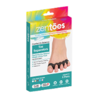 ZenToes 4 Silicone Toe Spacers Correct Toe Alignment, Bunion, Hammertoe Straightener - Black - 4