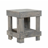 del Hutson Designs Reclaimed Natural Solid Wood Farmhouse Rustic End Table, Grey - 1 Piece