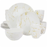 Elama Fine Marble 16 Piece Stoneware Dinnerware Set in Gold and White
