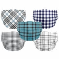 Co.Protect Premium Black & Blue Plaid 3-Layer Adult Disposable Face Masks