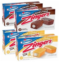 Hostess Zingers Combo | Iced Vanilla & Iced Devil's Food | 12.7 Ounce | Four 10 Count Boxes ( - 1