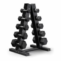 Epic Fitness 5 Pair of Hex Dumbbell Hand Weight Set with A Frame Storage Rack - 1 Piece