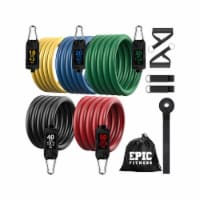 Epic Fitness Resistance Band Set, 10 Pieces, 10 to 150 Pounds, Latex, Multicolor - 1 Piece