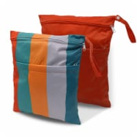 Cloth Diaper Wet Dry Bags with Two Zippered Pockets, Waterproof & Reusable - Inches