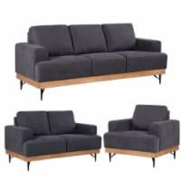 Devion Furniture Modern Chair Loveseat & 3 Seater Sofa Set in Dark Gray - 1