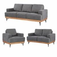 Devion Furniture Modern Fabric Chair-Loveseat & 3 Seater Sofa Set in Gray - 1