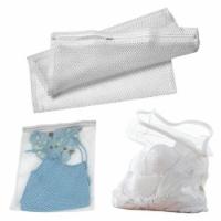2 Pc White Mesh Laundry Bag 14  x 18  Wash Lingerie Delicates Panties Hose Bras - 1