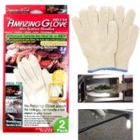 2 Heat Proof OVEN Mitt Glove Resistant Cooking Kitchen 48 F Hot Surface Handler - 1
