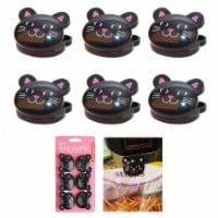 6 Pc Sealing Chip Clips Storage Bag Fresh Food Snack Clip Grip Coffee Crafts Cat - 1
