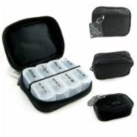 7 Day Sorter Pill Vitamin Medicine Weekly Travel Organizer Box In Zippered Case - 1