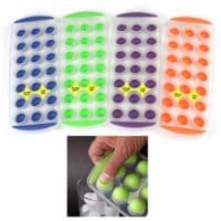 4 Push Out Ice Cube Trays Easy Pop Out Round Cubes Flexible Silicone Bottom Tray - 1