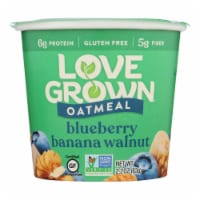 Love Grown Foods Hot Oats - Blueberry Banana and Walnut - Case of 8 - 2.22 oz.