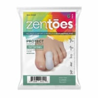ZenToes 6 Pack Gel Toe Caps - Cushions and Protects Toes from Rubbing - (Small, White)