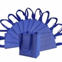 "8x4x10"" 12 . Medium-Small Metallic Blue Reusable Glitter Gift Bags with Handles"