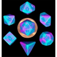 Metallic Dice Games LIC4172 Mini Purple & Teal with Blue Numbers Dice Games - Set of 7