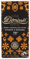 Divine 70% Cocoa Dark Chocolate with Ginger & Orange Bar
