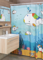 D Darlyng & Co Shower Curtain for Babies and Toddlers (Fish Sea Adventure) - 180cm x 180cm