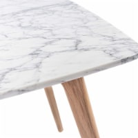 The Bianco Collection Senna 31  Italian Carrara White Marble Dining Table with Oak Legs - 1 unit