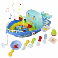 Boat play toy with light and music, 2 in1 fishing games and sea cooking.