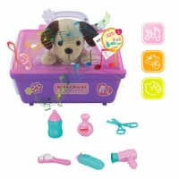 Plush dog, Portable pet carrier, Pink Puppy Grooming Kit Imagination puppy set