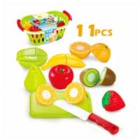 Play Food Set 11 pcs Plastic Cutting Fruits Vegetables w/basket