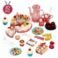 Birthday Cake Toy 82PCS Cutting DIY Pretend Play Cake Dessert Food Set with Candles