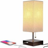 Grace Modern LED Bedside Table & Desk Lamp with Unique Lampshade & USB Port - Havana Brown - 1