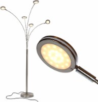 Orion 5 - Bright LED Standing Tree Arc Lamp - 5 Adjustable Heads - Satin Nickel (Silver)