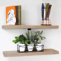 Willow & Grace Amanda 24 In Floating Wall Mount Shelves, Rustic Grey, Set of 2 - 1 Piece