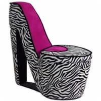 ORE International 32.86  High Heel Wood Storage Accent Chair in Pink/Zebra - 1