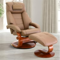 Relax-R MONTREAL058024PL Montreal Recliner & Ottoman with Pillow, Sand Tan